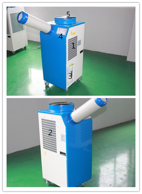 Temporary Air Conditioning Units 3500W Temperature Sensor Control Two Flexible Ducts