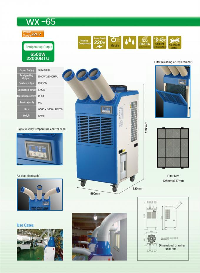 Professional 22000BTU Ventless Portable Air Conditioner For Industrial Chiller